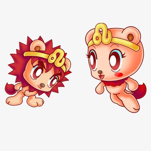 手绘卡通可爱星座狮子座