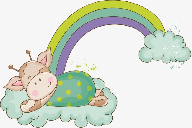 彩虹长颈鹿矢量卡通手绘素材