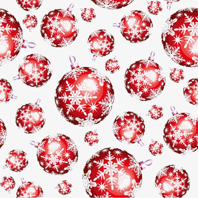 红色雪花卡通圣诞球免扣素材图片