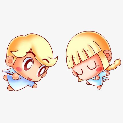 手绘卡通可爱星座双子座
