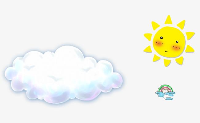 手绘太阳白云彩虹
