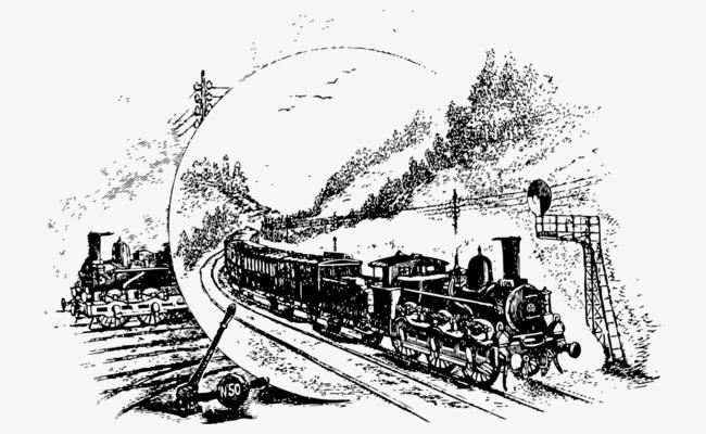 手绘黑白原始欧洲火车