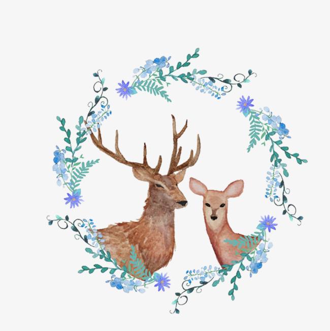 蓝色花环 手绘插画 遥望 麋鹿             此素材是90设计网官方