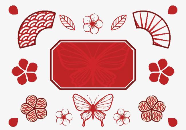 红色中国风扇子蝴蝶素材图片免费下载 高清PPT元素psd 千库网 图片