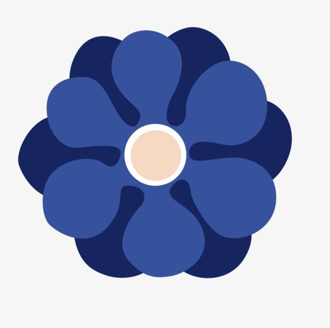 蓝色手绘花朵素材