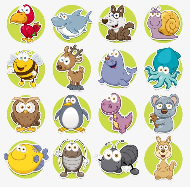 图片 > 【png】 16款卡通圆形动物图标矢量素材  分类: 类目:其他