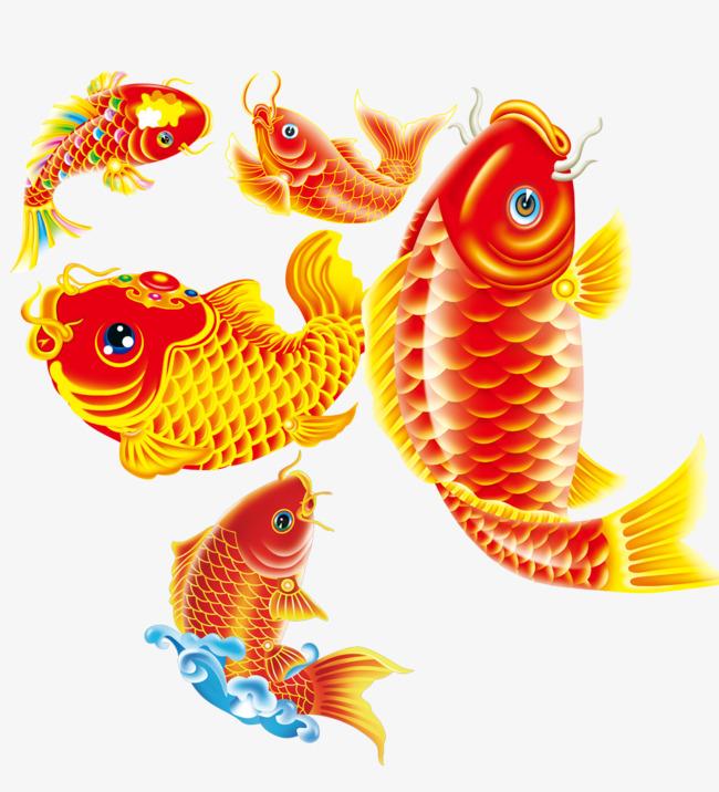 手绘红鲤鱼免抠素材
