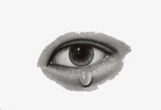 素描流泪的眼睛素材