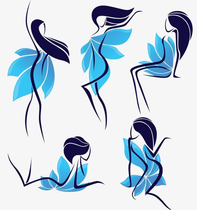 卡通手绘线条舞蹈者素材