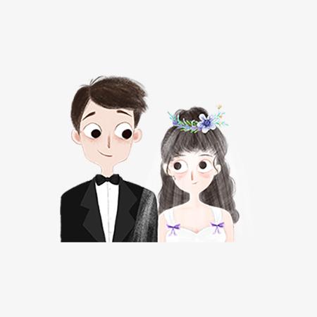七夕卡通新郎新娘爱情图片