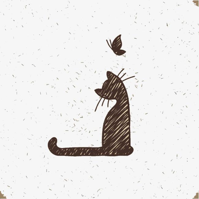 猫咪和蝴蝶背影背景素材