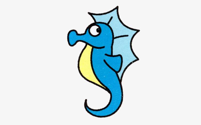 手绘蓝色的海马