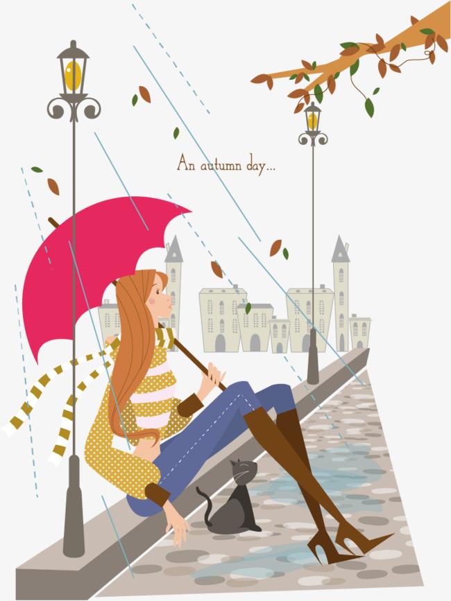 矢量手绘下雨天免抠素材手绘下雨天撑伞的女孩女孩躲雨打伞撑伞裙子雨景唯美小清新卡通