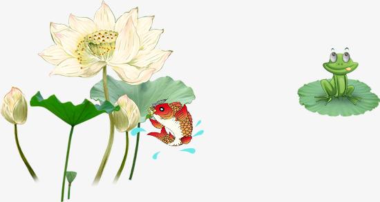 中国风荷花荷叶青蛙鱼图片