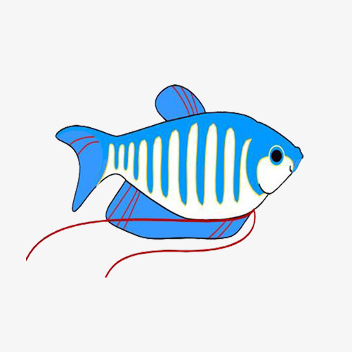 卡通蓝色小鱼图片