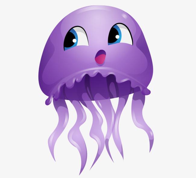 卡通手绘紫色可爱水母