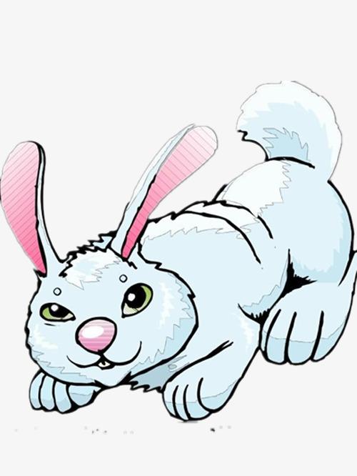 蓝色的手绘小兔子