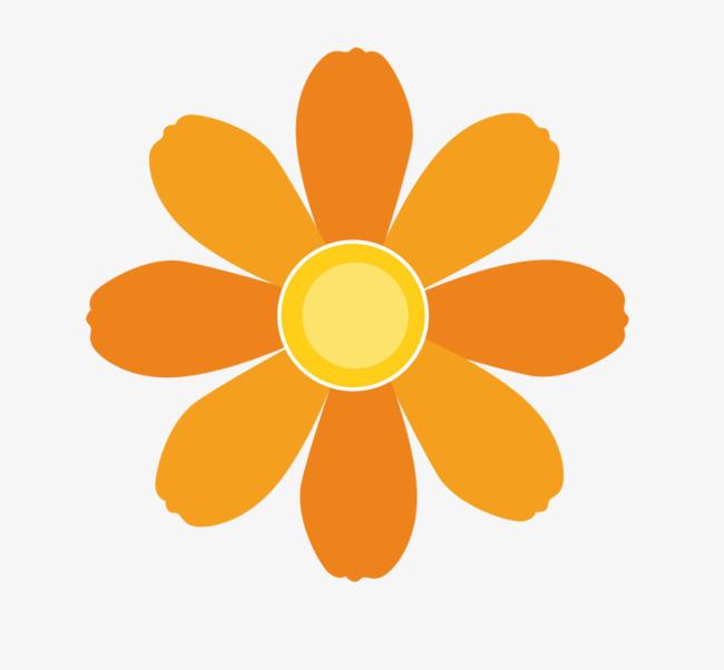 橙色小花手绘素材