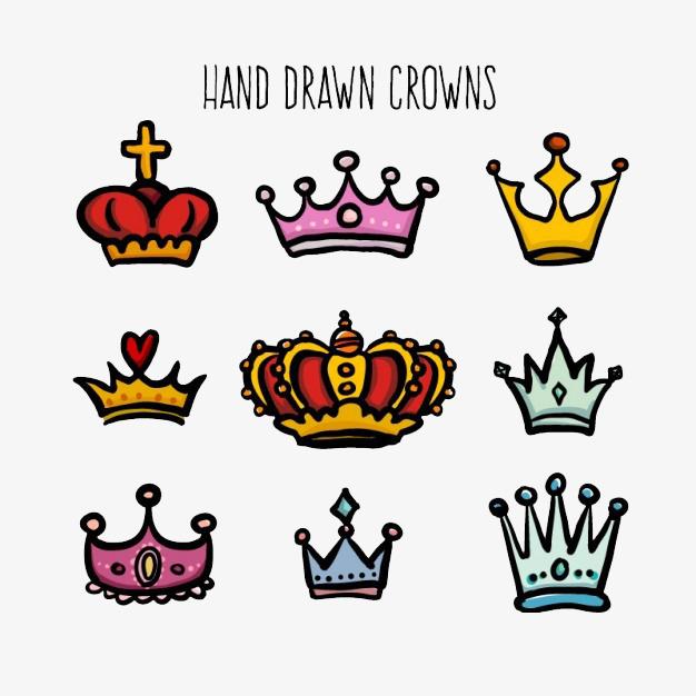手绘彩色可爱皇冠素材
