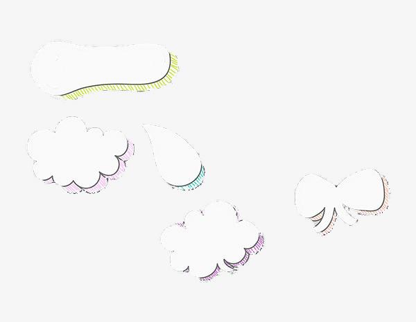 简笔画云朵气泡【高清装饰元素png素材】-90设计