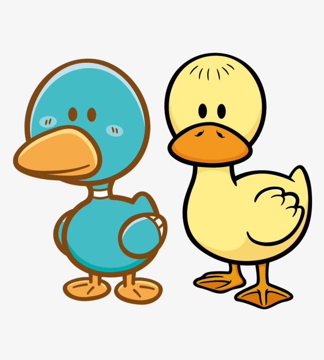 矢量可爱的小黄鸭和小绿鸭