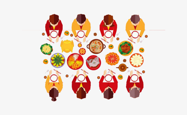 手绘团圆一家人吃饭素材