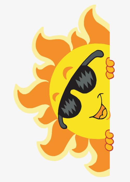 可爱卡通半遮脸太阳