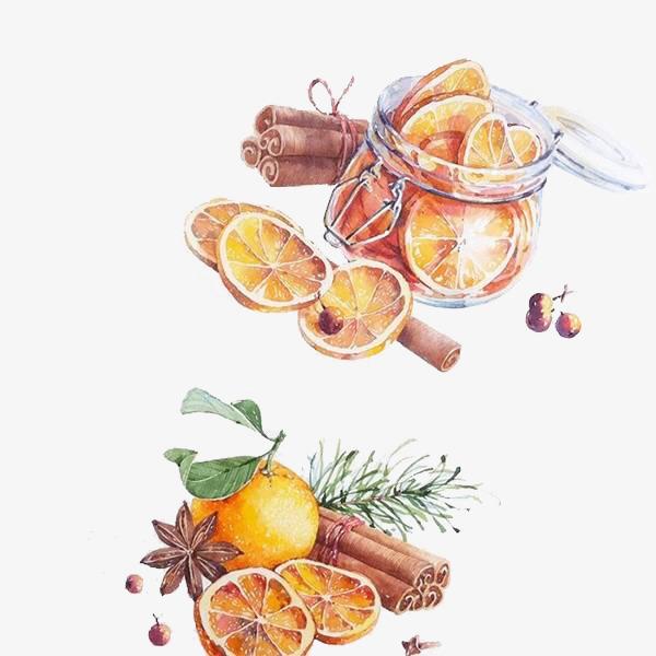 手绘水粉柠檬干素材