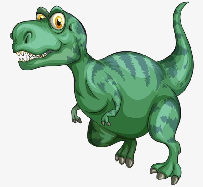 卡通手绘绿色可爱恐龙图片