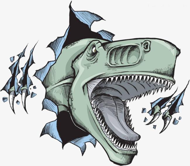 卡通张大嘴的恐龙图片