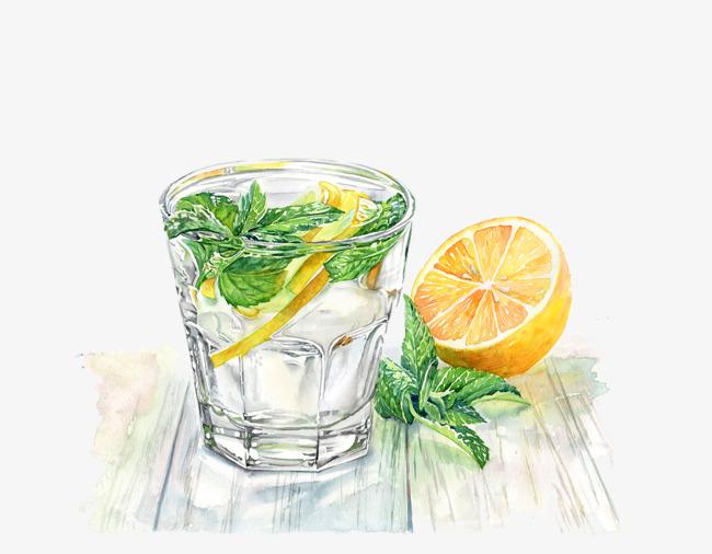 手绘柠檬和饮料【高清png素材】-90设计