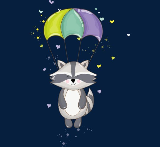 卡通手绘可爱降落伞浣熊