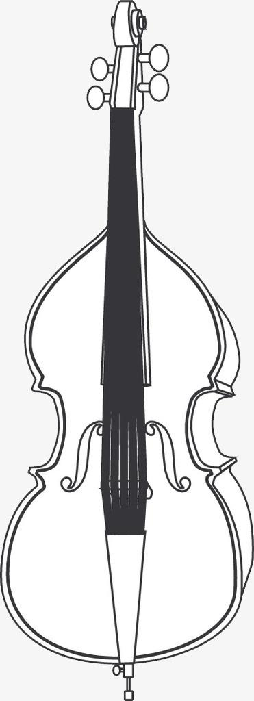 手绘线条大提琴素材