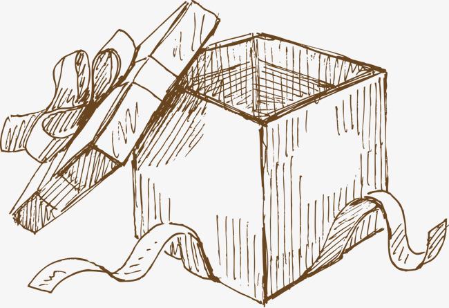 手绘线条礼物盒
