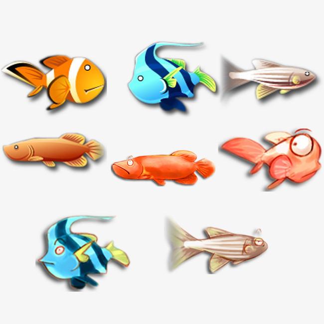 彩色 鱼儿 海洋生物 手绘             此素材是90设计网官方设计