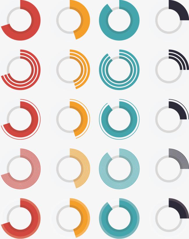 矢量创意设计圆环饼形统计图表