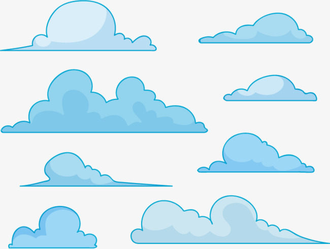 扁平化背景_扁平蓝色云朵png素材-90设计