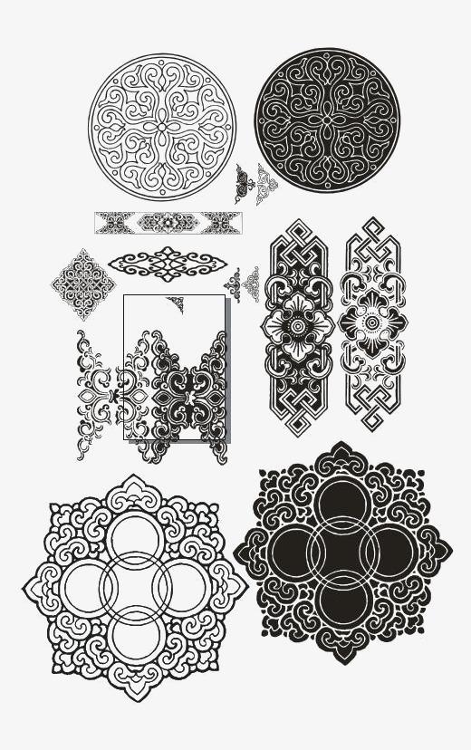蒙古花纹矢量素材图片免费下载 高清装饰图案png 千库网 图片编号5887702
