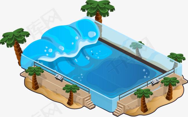 手绘水池素材图片免费下载_高清卡通手绘png_千库网
