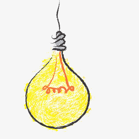 手绘灯泡卡通