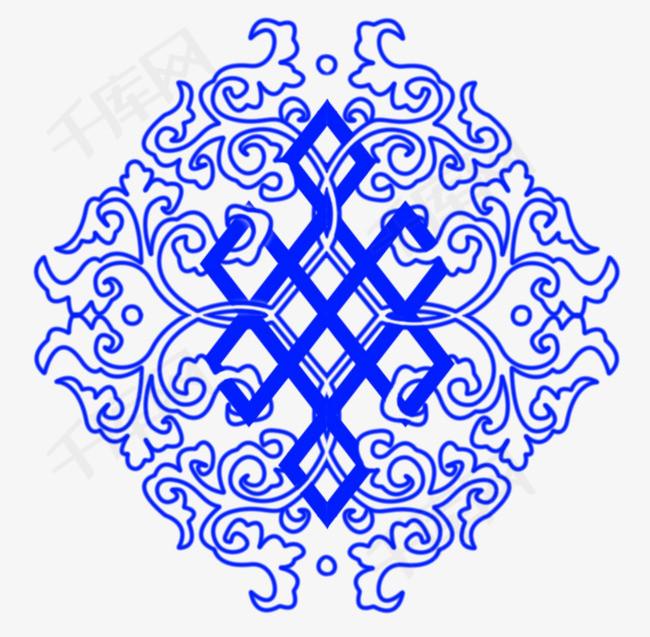 蓝色蒙古花纹矢量素材图片免费下载 高清装饰图案psd 千库网 图片编号5887721