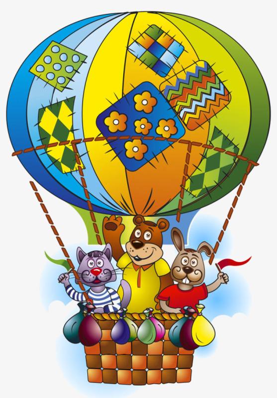 手绘坐热汽球里面小动物