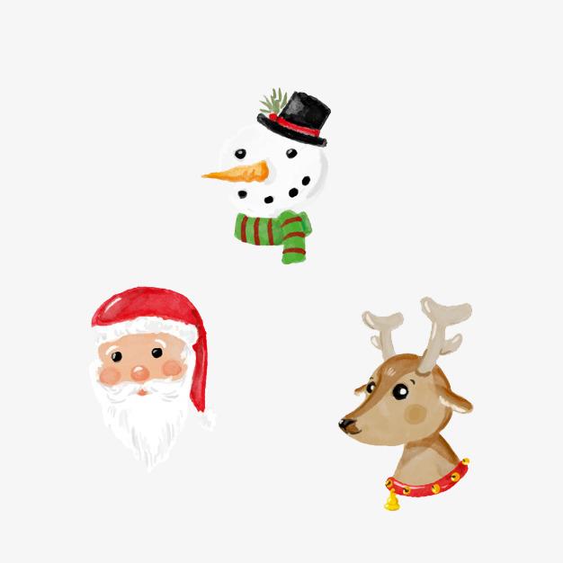 圣诞节圣诞老人和鹿和雪人