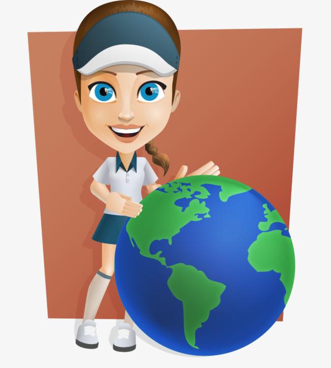 卡通手绘戴帽子运动女孩地球仪