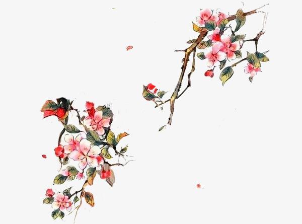 水彩桃花图层鸟桃花水彩画飘零花瓣桃花枝-水彩桃花图层素材图片免