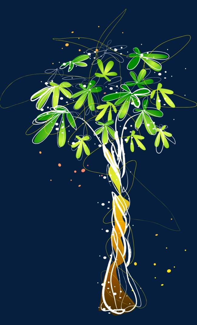 卡通手绘翠绿风景树