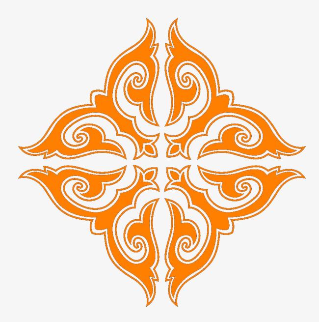 橙色蒙古花纹矢量png素材 90设计