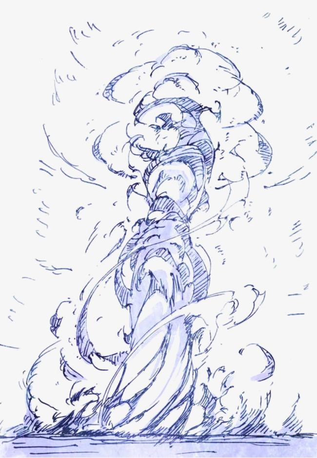 烟雾 蓝色 水彩画 手绘素材             此素材是90设计网官方设计