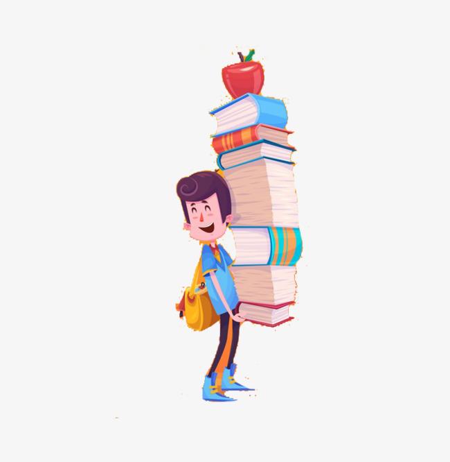 搬书的小孩可爱卡通画