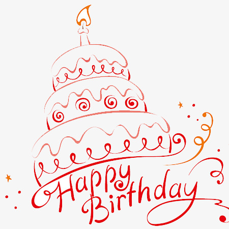 生日快乐蛋糕线条手绘png素材-90设计图片
